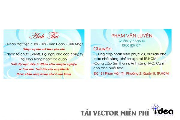 Vector Name Card Nhà Hàng anh thư